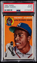 Baseball Cards:Singles (1950-1959), 1954 Topps Hank Aaron #128 PSA Good 2....