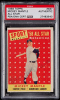 Autographs:Sports Cards, Signed 1958 Topps Mickey Mantle All-Star #487 PSA/DNA Authentic....