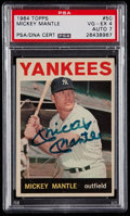 Autographs:Sports Cards, Signed 1964 Topps Mickey Mantle #50 PSA/DNA VG-EX 4, Autograph7....