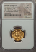 Ancients:Byzantine, Ancients: Heraclius (AD 610-641) & Heraclius Constantine (AD613-641).AV solidus (4.42 gm).NGC MS 4/5 - 3/5,clipped....