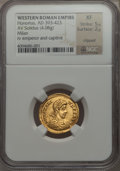 Ancients:Roman Imperial, Ancients: Honorius, Western Roman Emperor (AD 393-423). AV solidus (4.08 gm). NGC XF 5/5 - 2/5, clipped....
