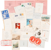 A Grace Kelly Collection of Handwritten Letters, Notes and Other Documents Mostly Related to Her Wedding, 1956
