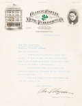 Movie/TV Memorabilia:Autographs and Signed Items, A Charlie Chaplin Signed Letter, 1918....