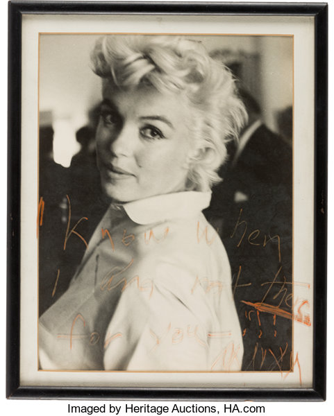 A Marilyn Monroe Unusual Inscribed \'Frame Glass\' to Arthur   Lot ...