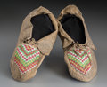 American Indian Art:Beadwork and Quillwork, A Pair of Kickapoo Beaded Hide Moccasins... (Total: 2 Items)