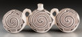 American Indian Art:Pottery, An Acoma Black-On-White Triple Lobed Canteen. Juana Leno...