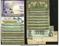 Canadian Currency: , An Eclectic Lot Including 22 Canadian Notes, a Newfoundland PostageStamp, and Seven Checks and Obsolete Notes from the United...(Total: 29 items)