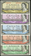 Canadian Currency: , BC-38bA $2 1954 Replacement with *B/B Prefix. BC-39a $5 1954.BC-40a $10 1954. BC-41b $20 1954. BC-45a $1 1967. ... (Total: 5notes)