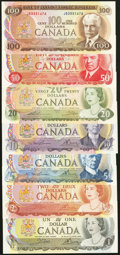 Canadian Currency: , A $1 Through $100 Denomination Set of Canadian Notes from the1970s.. ... (Total: 7 notes)