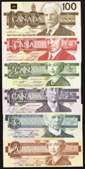 Canadian Currency: , A $2 Through $100 Denomination Set from the Birds of CanadaSeries.. ... (Total: 6 notes)