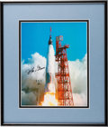 Autographs:Celebrities, John Glenn Signed Mercury-Atlas 6 (Friendship 7) LaunchColor Photo in Framed Display....