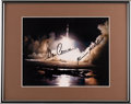 Autographs:Celebrities, Apollo 17 Launch Color Astronaut Scholarship Foundation Photo Signed by Cernan and Schmitt in Framed Display. ...