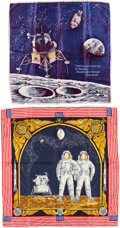 Explorers:Space Exploration, Apollo 11: Two Colorful Vintage Scarves....