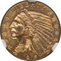 Indian Half Eagles: , 1915 $5 MS63 NGC. NGC Census: (654/546). PCGS Population:(945/557). CDN: $800 Whsle. Bid for problem-free NGC/PCGS MS63.M...