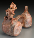 Pre-Columbian:Ceramics, A Vicus Double-chambered Whistling Vessel...
