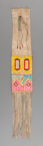 American Indian Art:Beadwork and Quillwork, A Ft. Berthold Quilled Hide Tobacco Bag. ...