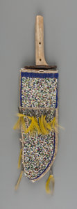 American Indian Art:Beadwork and Quillwork, A Sioux Beaded Hide Knife Sheath and Knife... (Total: 2 Items)