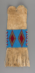 American Indian Art:Beadwork and Quillwork, An Arapaho Beaded Hide Tobacco Bag...