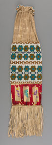 American Indian Art:Beadwork and Quillwork, A Plains / Great Lakes Beaded Hide Tobacco Bag...