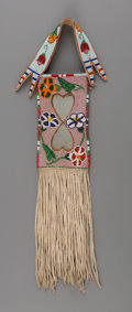 American Indian Art:Beadwork and Quillwork, A Crow Beaded Hide Mirror Bag...