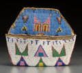 American Indian Art:Beadwork and Quillwork, A Sioux Beaded Buffalo Hide Wall Pocket...