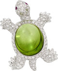 Estate Jewelry:Brooches - Pins, Peridot, Diamond, Ruby, White Gold Brooch, Assil. ...