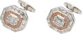 Estate Jewelry:Cufflinks, Diamond, Colored Diamond, White Gold Cuff Links, Assil...