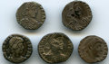 Ancients:Ancient Lots , Ancients: ANCIENT LOTS. Roman Imperial. Late Empire. Lot of five(5) clipped AR siliquae. Fine-XF.... (Total: 5 coins)