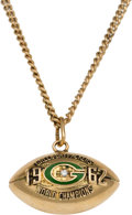 Football Collectibles:Others, 1962 Green Bay Packers World Championship Gold Pendant - Gifted by Vince Lombardi. ...