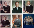 Autographs:Celebrities, Mercury Seven Astronauts: Five Individually-Signed Business SuitPose Color Photos, with John Glenn signed Group Photo....