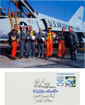 Autographs:Celebrities, Mercury Seven Astronauts: Cover Signed by Five, with Color Photo....