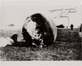 Autographs:Celebrities, Gherman Titov Signed Vostok 1 Spacecraft Rare Landing Photo. ...