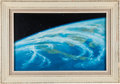 "Explorers:Space Exploration, Alexei Leonov Original Painting ""Cyclone Over Singapore"" inOriginal Fame with Four Signed & Numbered Litho Prints. ...(Total: 2 Items)"