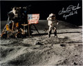 "Autographs:Celebrities, Apollo 16 Moonwalkers: ""Leaping Salute"" Lunar Color Photo Signed byBoth. ..."