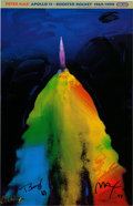 "Explorers:Space Exploration, Buzz Aldrin and Peter Max Signed ""Apollo 11 - Booster Rocket1969/1999"" Print, Originally from Aldrin's Personal Collection. ..."