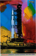"Explorers:Space Exploration, Buzz Aldrin and Peter Max Signed ""Apollo 11 - Launch Complex1969/1999"" Print, Originally from Aldrin's Personal Collection. ..."