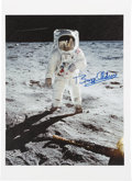 """Autographs:Celebrities, Buzz Aldrin Signed Large Apollo 11 """"Visor"""" Giclée Color Print on Canvas Originally from His Personal Collection. ..."""