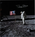Autographs:Celebrities, Buzz Aldrin Signed Apollo 11 Lunar Surface Flag Color PhotoOriginally from His Personal Collection. ...