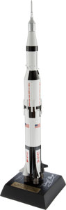 Explorers:Space Exploration, Saturn V Rocket Model, 1/200 Scale, Signed by Buzz Aldrin andGeorge Takei....
