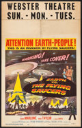 "Movie Posters:Science Fiction, Earth vs. the Flying Saucers (Columbia, 1956). Window Card (14"" X22""). Science Fiction.. ..."
