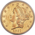 Liberty Double Eagles, 1851-O $20 XF45 PCGS. CAC. Variety 1....