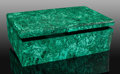 Lapidary Art:Boxes, Malachite Box. L'Etoile du Congo Mine, Lubumbashi. Katanga Copper Crescent. Katanga (Shaba). Democratic Republ...