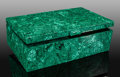 Lapidary Art:Boxes, Malachite Box. L'Etoile du Congo Mine, Lubumbashi. KatangaCopper Crescent. Katanga (Shaba). Democratic Republic of Congo...