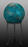 Lapidary Art:Eggs and Spheres, Blue Apatite Sphere. Madagascar. ... (Total: 2 Items)