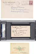 Baseball Collectibles:Others, 1936 Honus Wagner Signed Business Card & Envelope, PSA/DNA Authentic....