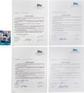 Baseball Collectibles:Others, 1992-07 Topps Baseball Card Signed Contracts with Gwynn & Maddux Lot of 4. ...
