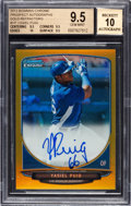 Baseball Cards:Singles (1970-Now), 2013 Bowman Chrome Yasiel Puig #YP Gold Refractor AutographNumbered 16 out of 50 BGS Gem Mint 9.5 - 10 Autograph. ...