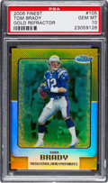 Football Cards:Singles (1970-Now), 2006 Topps Finest Tom Brady Gold Refractor #105 PSA Gem Mint 10 Numbered 38 out of 49 - Pop Two!...