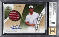 Golf Cards:General, 2012 Upper Deck SP Game Used Tiger Woods Inked Fabrics #IFTW BGS Mint 9 - 10 Autograph. ...