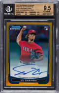 Baseball Cards:Singles (1970-Now), 2012 Bowman Chrome Yu Darvish Gold Refractor Rookie Autographs Numbered 34 out of 50 BGS Gem Mint 9.5 - 10 Autograph. ...